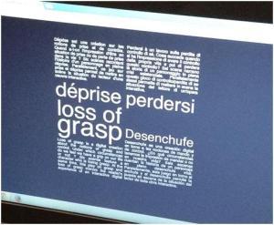 Ecrã de entrada da obra Loss of Grasp  (2010), Serge Bouchardon e Vincent Volckaert.